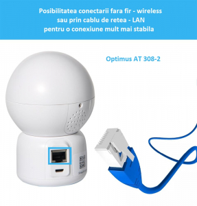 Camera supraveghere interior IP WIFI/LAN Optimus AT 308-2 fullHD 1920*1080P 2 mp comunicare bidirectionala, functie de auto urmarire subiect, night vision, aplicatie telefon [4]