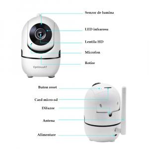 Camera supraveghere interior IP WIFI Optimus AT 288-2 fullHD 1920*1080P 2 mp comunicare bidirectionala, functie de auto urmarire subiect, night vision, aplicatie telefon [6]