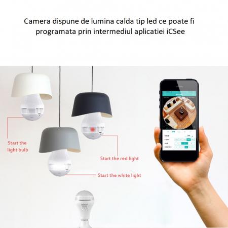 Camera supraveghere tip bec E27 IP WIFI Optimus AT B2-R fullHD 1920*1080P 2 mp, night vision, aplicatie telefon, alb [4]