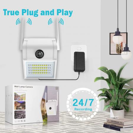 Lampa de perete cu camera de supraveghere IP WIFI Optimus AT D2-R fullHD 1920*1080P 2 mp, night vision, aplicatie telefon, alb [5]
