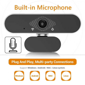 Camera WEB cu microfon Optimus AT DZ-001, rezolutie full-HD, 2mpx, rotire 360, prinderi multiple, negru/gri [4]
