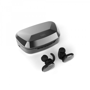 Casti bluetooth Premium TWS 702 fara fir (wireless), control audio, handsfree, rezistente la apa IPX5, metalic black [0]