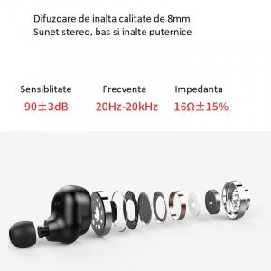 Casti bluetooth TWS Optimus AT V6 fara fir (wireless), control audio, handsfree, rezistente la apa IPX4, black [1]