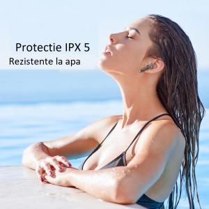 Casti bluetooth Hi-Fi TWS Melofun PowerPods fara fir (wireless), control audio, handsfree, rezistente la apa IPX5, black [2]
