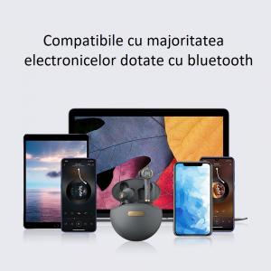 Casti bluetooth Hi-Fi TWS Melofun PowerPods fara fir (wireless), control audio, handsfree, rezistente la apa IPX5, black [1]