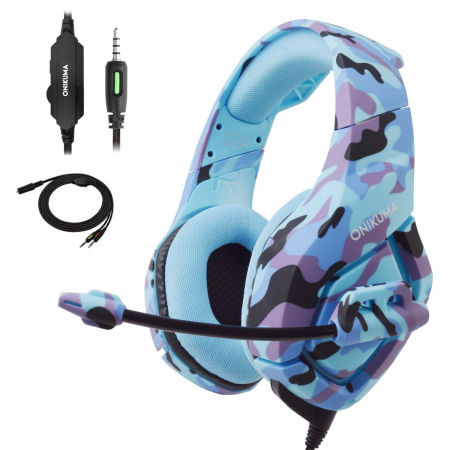 Casti Gaming DC-Onikuma K1, Surround Sound 7.1, Microfon Noise Cancelling, Zero Ear Pressure, Multi Platform -Camouflage  Albastru [5]