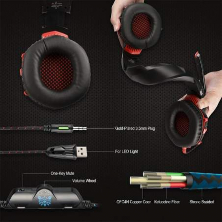 Casti Gaming Onikuma K2 PRO, Microfon Noise Cancelling, Zero Ear Pressure, Multi Platform -Negru/ Rosu [1]