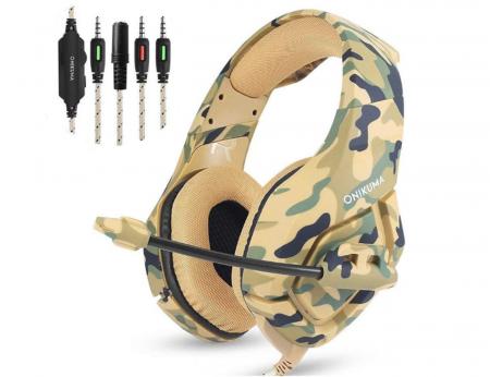 Casti Gaming Onikuma K1 PRO, Microfon Noise Cancelling, Zero Ear Pressure, Multi Platform - Camuflaj galben [0]