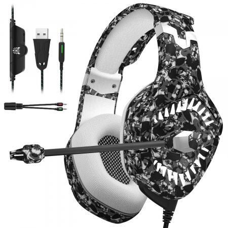 Casti Gaming Onikuma K1 PRO, Microfon Noise Cancelling, Zero Ear Pressure, Multi Platform - Camuflaj gri [0]