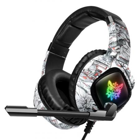 Casti Gaming Onikuma K19 Profesionale, Iluminare RGB, Surround Sound 7.1, Microfon Noise Cancelling, Zero Ear Pressure - Camouflage Gri [4]