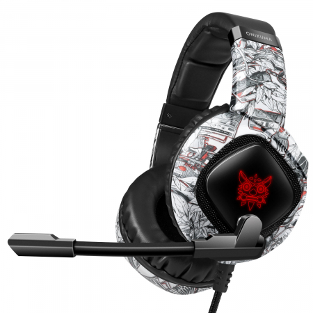 Casti Gaming Onikuma K19 Profesionale, Iluminare RGB, Surround Sound 7.1, Microfon Noise Cancelling, Zero Ear Pressure - Camouflage Gri [3]
