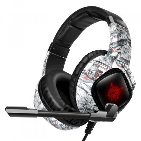 Casti Gaming Onikuma K19 Profesionale, Iluminare RGB, Surround Sound 7.1, Microfon Noise Cancelling, Zero Ear Pressure - Camouflage Gri [1]