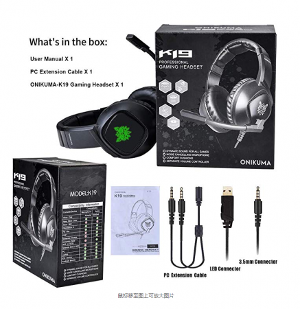 Casti Gaming Onikuma K19 Profesionale, Iluminare RGB, Surround Sound 7.1, Microfon Noise Cancelling, Zero Ear Pressure - Negru [4]