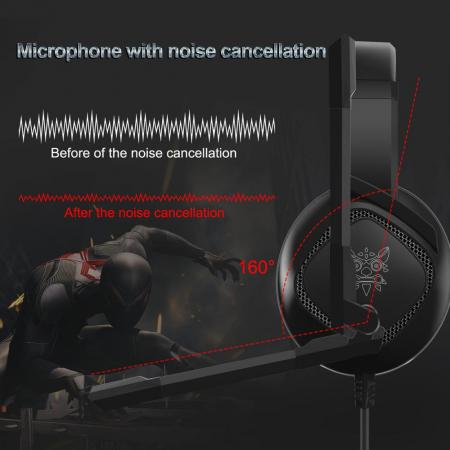 Casti Gaming Onikuma K19 Profesionale, Iluminare RGB, Surround Sound 7.1, Microfon Noise Cancelling, Zero Ear Pressure - Negru [3]
