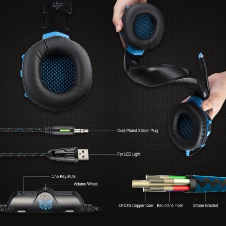 Casti Gaming Onikuma K2 PRO, Microfon Noise Cancelling, Zero Ear Pressure, Multi Platform -Negru/ Albastru [3]