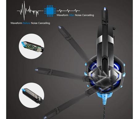 Casti Gaming Onikuma K2 PRO, Microfon Noise Cancelling, Zero Ear Pressure, Multi Platform -Negru/ Albastru [1]