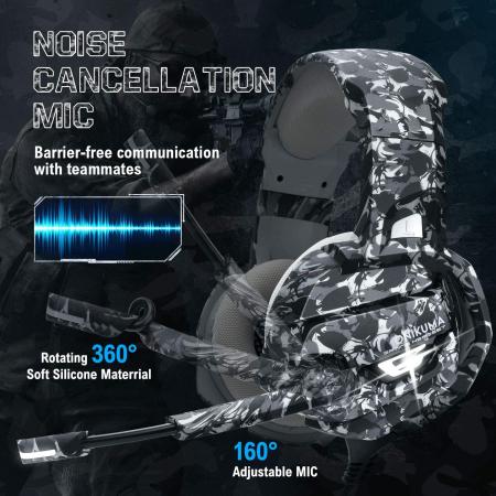 Casti Gaming DC-Onikuma K5 Profesionale, Surround Sound 7.1, Microfon Noise Cancelling, Zero Ear Pressure, Multi Platform - Camouflage Gri [1]