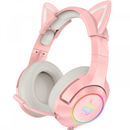 Casti gaming Onikuma K9 Proffesional, RGB Pink cat ears- removable [2]