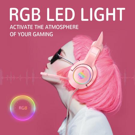 Casti gaming Onikuma K9 Proffesional, RGB Pink cat ears- removable [1]