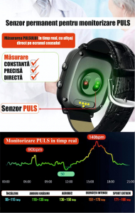 Ceas inteligent pentru adulti 4G cu localizare prin GPS, apelare audio, video, termometru, puls, tensiune, camera, buton SOS, H10 negru [10]