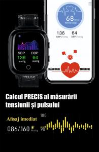 Ceas inteligent pentru adulti 4G cu localizare prin GPS, apelare audio, video, termometru, puls, tensiune, camera, buton SOS, H10 negru [11]