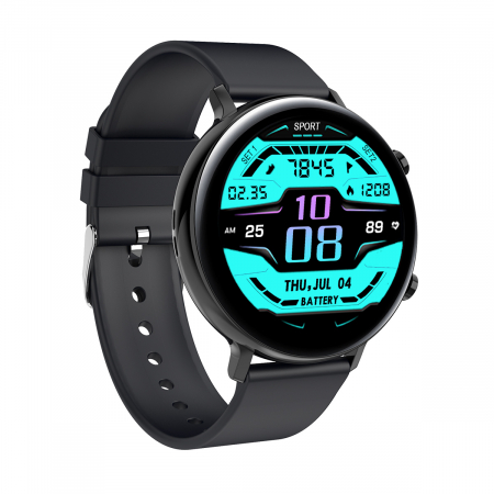 Ceas inteligent (smartwatch) SW07 cu apelare, difuzor si microfon incorporat, IP68, ecran cu touch 1.28 inch color, moduri sport, pedometru, puls, ECG, notificari, negru [3]
