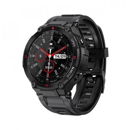Ceas inteligent (smartwatch) K27 ecran cu touch color HD, autonomie marita, moduri sport, pedometru, puls, notificari, negru [0]