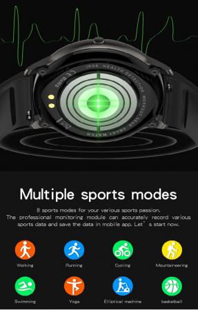 Ceas inteligent (smartwatch) LW-11 ultra subtire, IP68, ecran cu touch 1.28 inch color, moduri sport, pedometru, puls, notificari, negru [3]