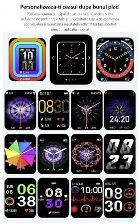 Ceas inteligent (smartwatch) Y20, IP67, ecran cu touch 1.7 inch color, moduri sport, pedometru, puls, notificari, auriu [2]