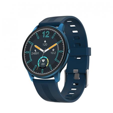 Ceas inteligent (smartwatch) LW-11 ultra subtire, IP68, ecran cu touch 1.28 inch color, moduri sport, pedometru, puls, notificari, albastru [0]