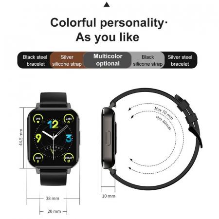 Ceas inteligent (smartwatch) Optimus AT DTX ecran cu touch 1.78 inch color HD, ECG, Sp02, puls, moduri sport, notificari, curea metalica black [6]
