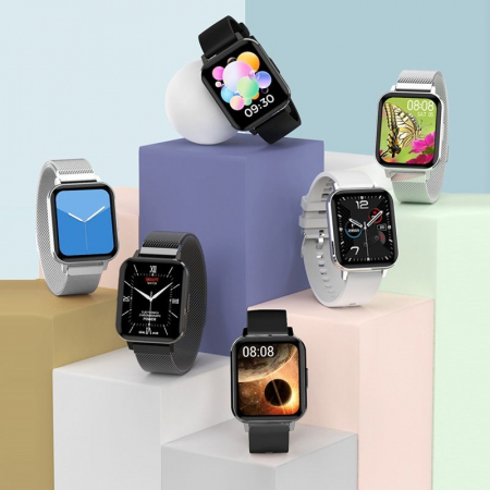 Ceas inteligent (smartwatch) Optimus AT DTX ecran cu touch 1.78 inch color HD, ECG, Sp02, puls, moduri sport, notificari, curea metalica silver [2]