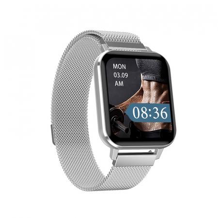 Ceas inteligent (smartwatch) Optimus AT DTX ecran cu touch 1.78 inch color HD, ECG, Sp02, puls, moduri sport, notificari, curea metalica silver [0]