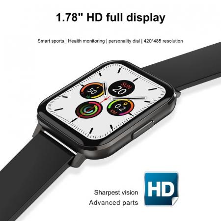 Ceas inteligent (smartwatch) Optimus AT DTX ecran cu touch 1.78 inch color HD, ECG, Sp02, puls, moduri sport, notificari, silicon black [2]