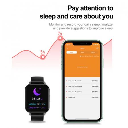 Ceas inteligent (smartwatch) Optimus AT DTX ecran cu touch 1.78 inch color HD, ECG, Sp02, puls, moduri sport, notificari, silicon black [9]