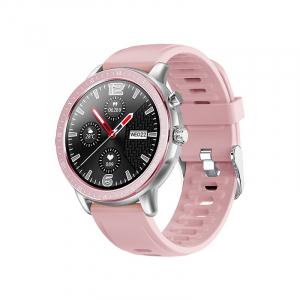 Ceas inteligent (smartwatch) Optimus AT S02 ecran cu touch 1.3 inch color HD, moduri sport, pedometru, puls, notificari, pink/silver