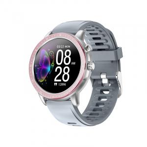 Ceas inteligent (smartwatch) Optimus AT S02 ecran cu touch 1.3 inch color HD, moduri sport, pedometru, puls, notificari, pink/grey