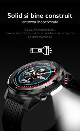 Ceas inteligent (smartwatch) sport Optimus AT L15 ecran cu touch 1.3 inch color HD, Sp02, puls, 10 moduri sport, notificari, black [4]