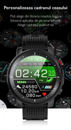 Ceas inteligent (smartwatch) sport Optimus AT L15 ecran cu touch 1.3 inch color HD, Sp02, puls, 10 moduri sport, notificari, black [7]