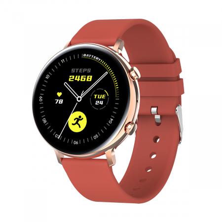 Ceas inteligent (smartwatch) SW07 cu apelare, difuzor si microfon incorporat, IP68, ecran cu touch 1.28 inch color, moduri sport, pedometru, puls, ECG, notificari, rosu [0]