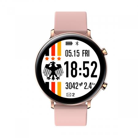 Ceas inteligent (smartwatch) SW07 cu apelare, difuzor si microfon incorporat, IP68, ecran cu touch 1.28 inch color, moduri sport, pedometru, puls, ECG, notificari, auriu [1]