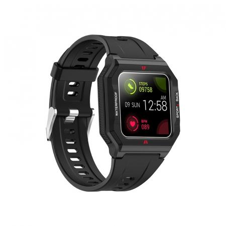 Ceas inteligent sport (smartwatch) FT10, rezistent la apa IP68, ecran 1.3 inch, functii multiple, negru [2]