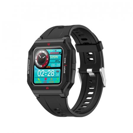 Ceas inteligent sport (smartwatch) FT10, rezistent la apa IP68, ecran 1.3 inch, functii multiple, negru [0]