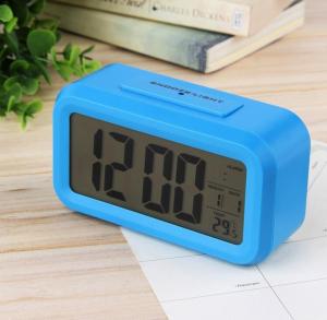 Ceas multifunctional cu cifre mari, Optimus AT 3143 termometru, alarma, snooze, baterii / priza, albastru [0]