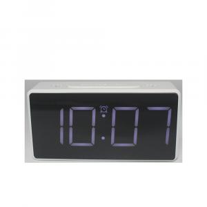 Ceas multifunctional cu design minimalist, model 8039 termometru, alarma, snooze, baterii / priza, alb [0]