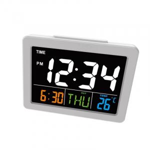 Ceas multifunctional cu cifre mari, Optimus AT G2000 termometru, alarma, snooze, baterii / priza, alb [1]