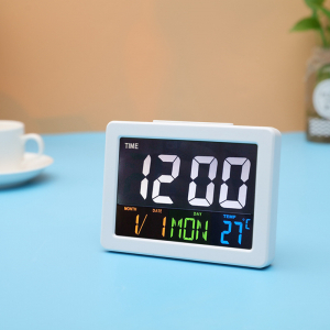 Ceas multifunctional cu cifre mari, Optimus AT G2000 termometru, alarma, snooze, baterii / priza, alb [0]
