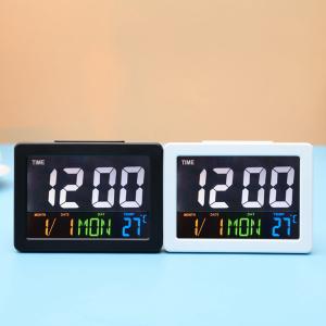 Ceas multifunctional cu cifre mari, Optimus AT G2000 termometru, alarma, snooze, baterii / priza, alb [2]