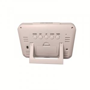 Ceas multifunctional cu cifre mari, Optimus AT 7002W termometru, alarma, snooze, baterii / priza, alb [1]