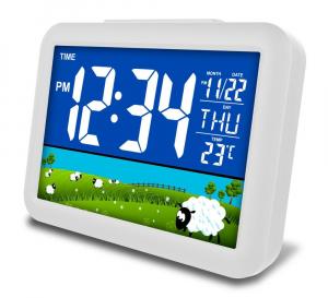 Ceas multifunctional cu cifre mari, Optimus AT 7002W termometru, alarma, snooze, baterii / priza, alb [0]